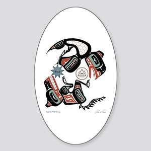 Eagle & Wolf Rising Oval Sticker