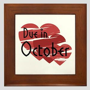 Due In October Red Hearts Framed Tile