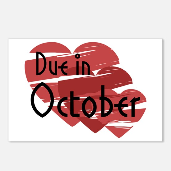 Due In October Red Hearts Postcards (Package of 8)