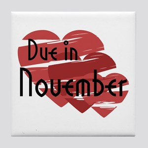 Due In November Red Hearts Tile Coaster