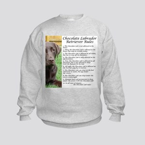 Chocolate Lab Rules Kids Sweatshirt