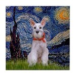 Starry Night / Min Schnauzer Tile Coaster