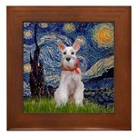 Starry Night / Min Schnauzer Framed Tile