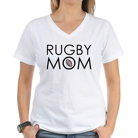 Rugby Mom Women's V-Neck T-Shirt