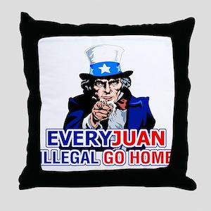 EveryJuan Illegal Go Home Throw Pillow