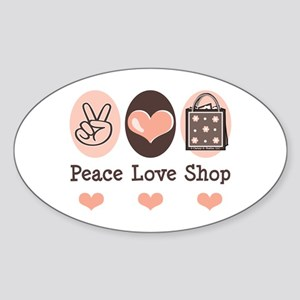 Peace Love Shop Shopping Oval Sticker