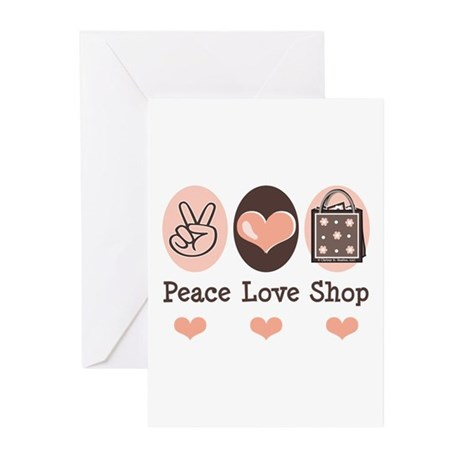 Peace Love Shop Shopping Greeting Cards (Pk of 20)