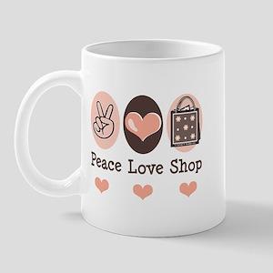 Peace Love Shop Shopping Mug