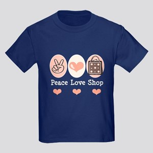 Peace Love Shop Shopping Kids Dark T-Shirt