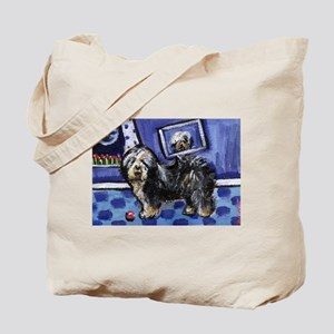 Old English Sheepdog smiling  Tote Bag
