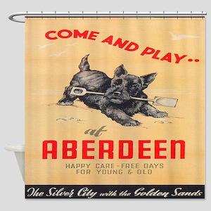 Aberdeen, Scotland Vintage Travel Poster Shower Cu