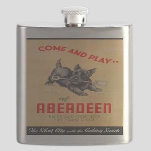 Aberdeen, Scotland Vintage Travel Poster Flask