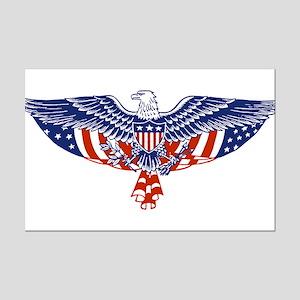 Eagle and American Flag Mini Poster Print