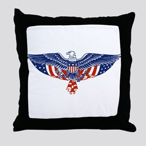 Eagle and American Flag Throw Pillow