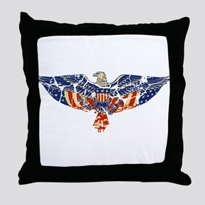 Retro Eagle and USA Flag Throw Pillow