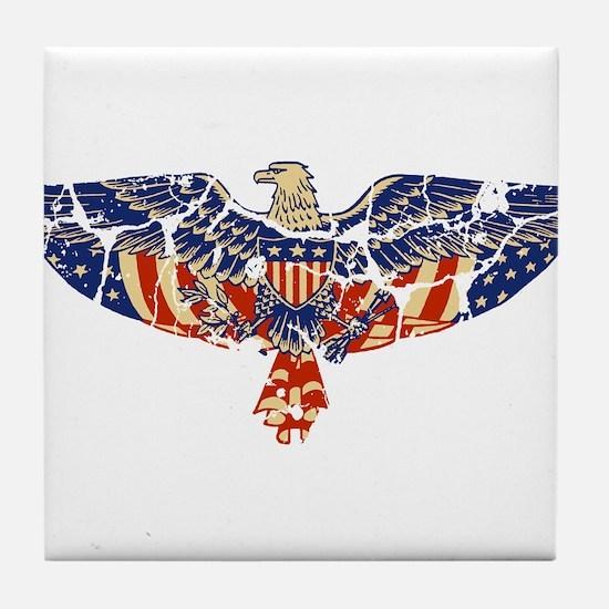Retro Eagle and USA Flag Tile Coaster
