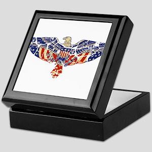 Retro Eagle and USA Flag Keepsake Box