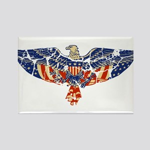 Retro Eagle and USA Flag Rectangle Magnet