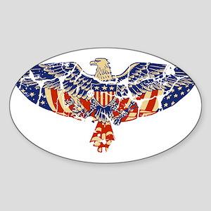 Retro Eagle and USA Flag Oval Sticker
