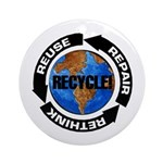 Recycle World Ornament (Round)