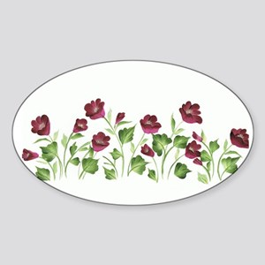 Purple Poppies Oval Sticker