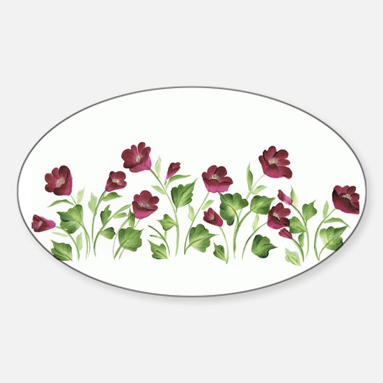 Purple Poppies Oval Decal