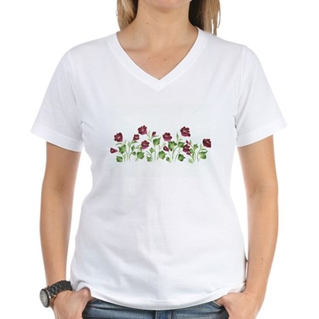 Purple Poppies Women's V-Neck T-Shirt