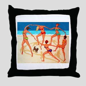 Beach Happy Dance Throw Pillow