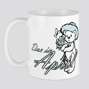 Due April Blue Flower Teddy Mug