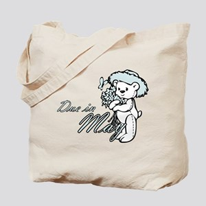 Due In May Blue Flower Teddy Tote Bag
