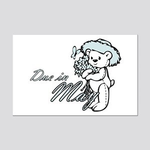 Due In May Blue Flower Teddy Mini Poster Print