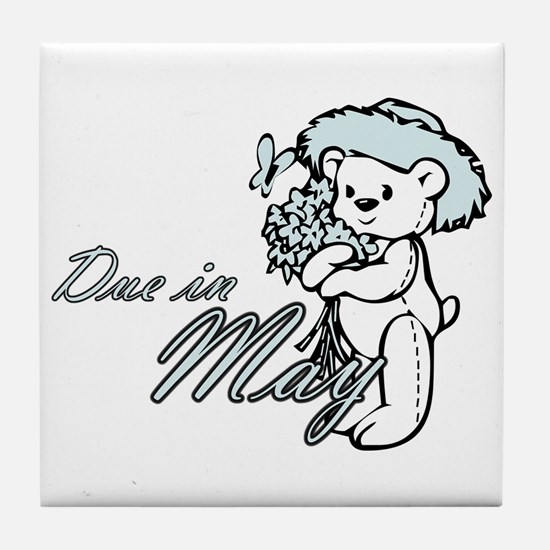 Due In May Blue Flower Teddy Tile Coaster