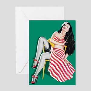 Red and White Girl Greeting Card