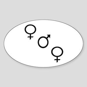 Black Threesome Oval Sticker