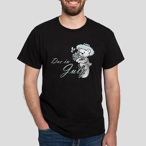 Due In July Blue Flower Teddy Dark T-Shirt