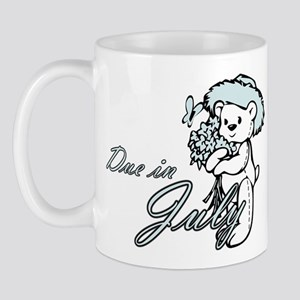 Due In July Blue Flower Teddy Mug