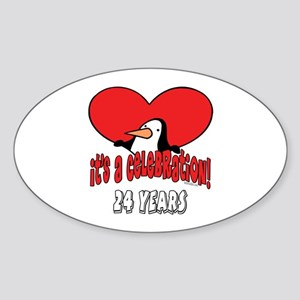 24th Celebration Oval Sticker