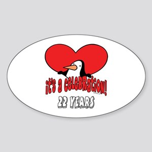 22nd Celebration Oval Sticker