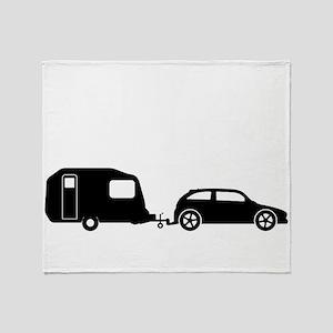 Car Towing Caravan Silhouette Throw Blanket