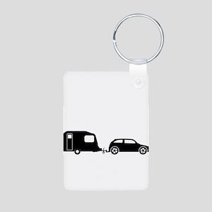 Car Towing Caravan Silhouette Keychains