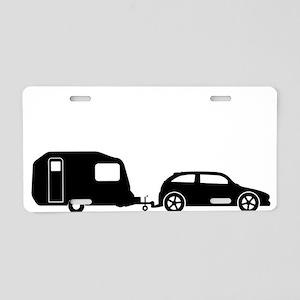 Car Towing Caravan Silhouet Aluminum License Plate