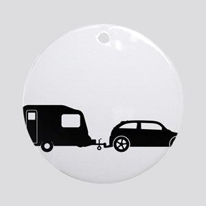 Car Towing Caravan Silhouette Round Ornament