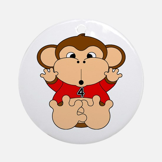 Four Year Old Monkey Ornament (Round)