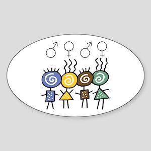 Colorful Foursome Oval Sticker