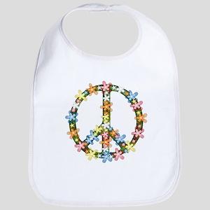 Peace Flowers Cotton Baby Bib