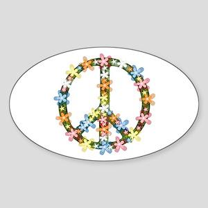 Peace Flowers Sticker (Oval)