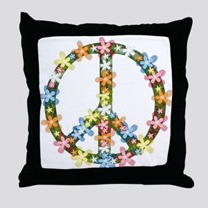 Peace Flowers Throw Pillow