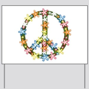 Peace Flowers Yard Sign
