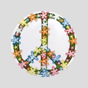 "Peace Flowers 3.5"" Button"
