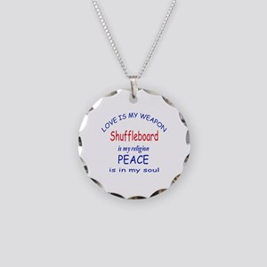 Shuffleboard is my Religion Necklace Circle Charm